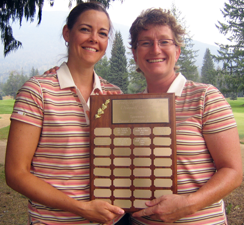 Lori Moger and Katrina Lenoury of Spallumcheen won the overall gross with a score of 78. Photo courtesy of Pamela Franks/Revelstoke Golf Club
