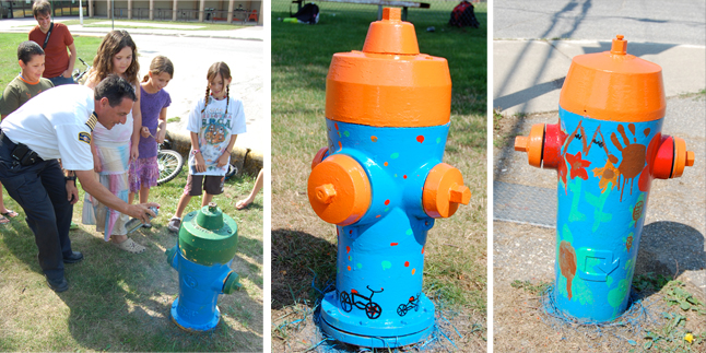 Fire Chief Rob Girard's a real good sport. He came out to RSS last week to Pre-Teen Camp kids the best way to spray paint a City fire hydrant. You can also see how the design (center image) turned out. The image on the right was taken of the hydrant at Mount Begbie School. David F. Rooney photo