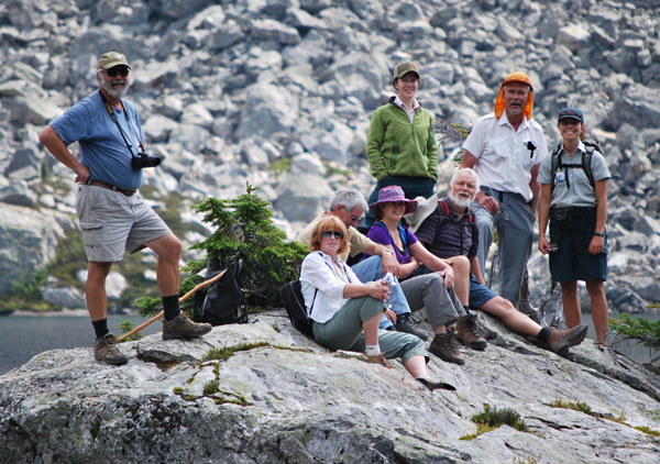 Some of the pilgrims posed on a rocky promontory in Miller Lake for a quick group portrait. Photo courtesy of Shaun Moore