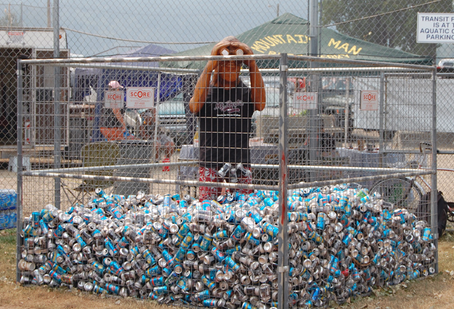 The level of cans around the traditional sasquatch tell a tale all their own: beer consumption at the beer garden was way down from previous years when the cans reached as high as the sasquatch's armpits. David F. Rooney photo
