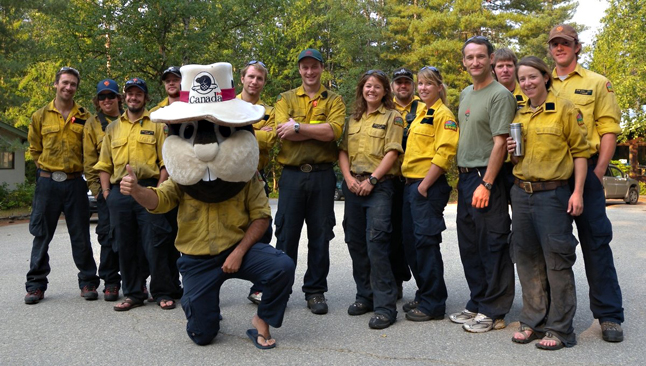 Parks Canada Initial Attack crews from Mount Revelstoke, Glacier, Waterton, Banff, & Kootenay gathered in Revelstoke to assist in fire operations over the past two weeks.(With some moral support from Boomer the Beaver?) Simon Hunt photo courtesy of Parks Canada