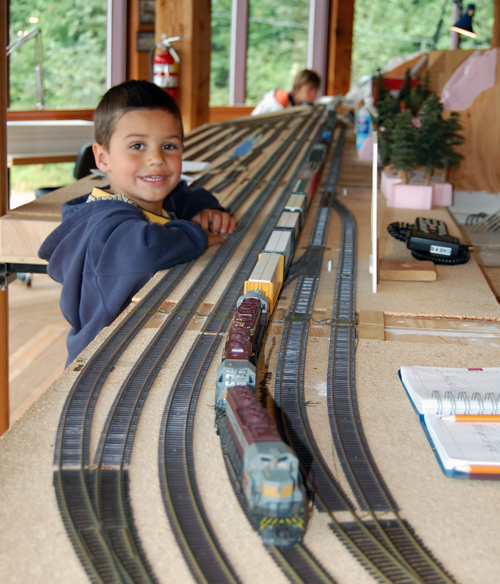 Zachary Depas of Calgary really enjoyed the model trains at the Railway Museum this afternoon. David F. Rooney photo