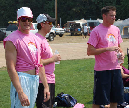 Oooo — that's bright! Members of the Gay Unicorns, a Calgary team, brightened up the field with their Barbie Doll-pink shirts. David F. Rooney photo