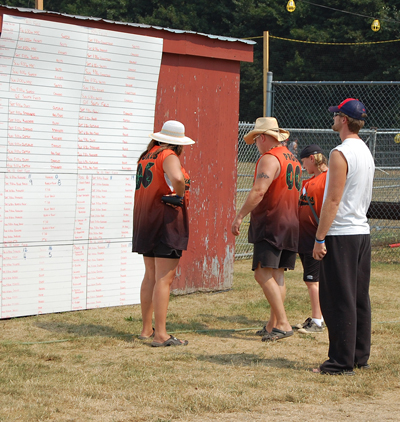 These out-of-town-players =didn't seem to like what they saw on the big score board at Centennial Park. David F. Rooney photo