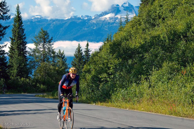 Rod Kessler gives it his all as he powers his way up Mount Revelstoke in the 2008 Mount Revelstoke Steamer. Photo courtesy of Mike Welch Photography