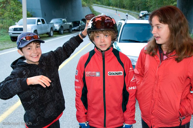Adults are not the only racers in the Mount Revelstoke Steamer. Here Kellen Viznaugh and his sister Bronte have a little fun with young racer Shep Howatt at the 2008 edition of the race. Photo courtesy of Mike Welch Photography