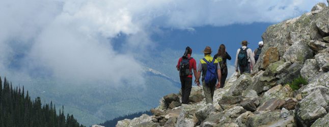 Hikers intent on reaching Eva Lake view amazing scenery during their moderate trek. Photo courtesy of Parks Canada