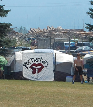 Many of the teams brought signs to denote their territory in the campgrounds near Centennial Park. David F. Rooney photo