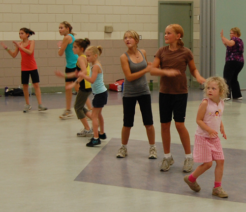 The dance-like Zumba appeals to young and old. The class at the Community Centre has members who range in age from under ten to over 50. David F. Rooney photo