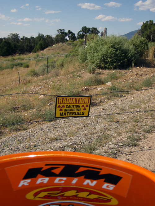 Hmmm. Here's something you don't often see: radiation warnings on a fenced-off road. Hamilton and DeBlock ran into this outside a town in Utah. Photo courtesy of Rich Hamilton