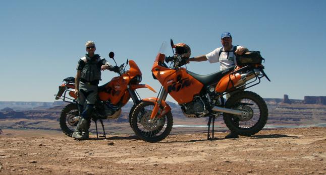 Rich Hamilton (left) and Gary DeBlock pose for a self-portrait somewhere in the desert. Photo courtesy of Rich Hamilton