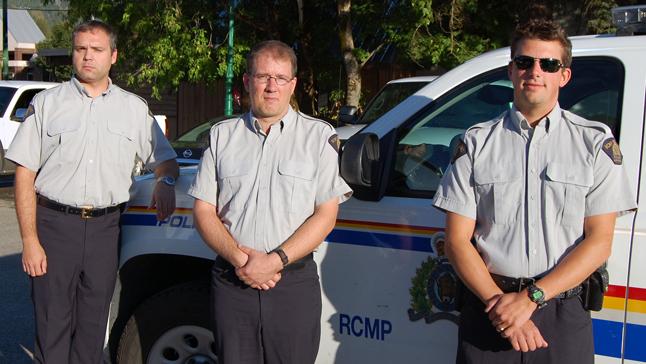 The Revelstoke RCMP detachment is seeking new auxiliary constables. Do you see the same value in community service as..... (left), Paul Carter and Eric Scarcella? David F. Rooney photo