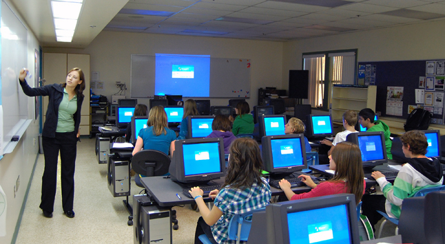 """Marie Light introduces students to the concept of """"username"""" and """"password"""" in the digital media lab at Revelstoke Secondary School. David F. Rooney photo"""
