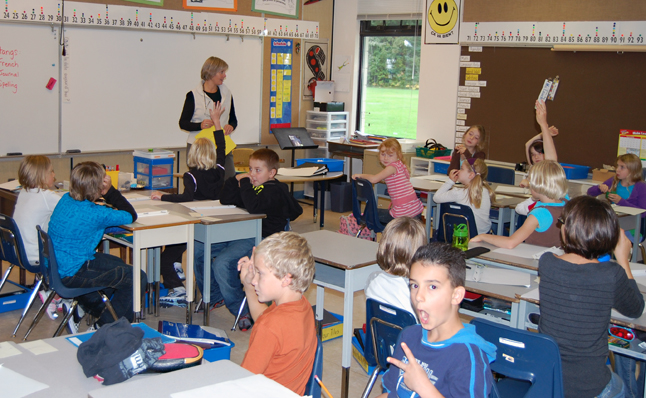 There's a cut-up in every class, even Sue Leach's Grade Three/Four at Arrow Heights. David F. Rooney photo
