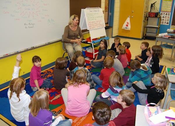 Grade Two/Three teacher Wendy Mulligan made her kids feel snug and warm on Wednesday morning. David F. Rooney photo