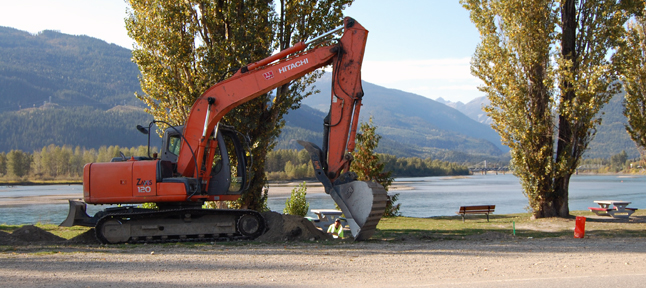 Workers have started building the new Centennial Park Train that will connect the trail above Downie Marsh with the sidewalk across from the Revelstoke Public Library. David F. Rooney photo