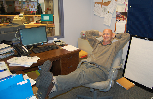 Alan Chell, the City of Revelstoke's long-serving director of parks and recreation, kicks back for a moment in his office, almost as though he's daydreaming about his retirement. Chell has been working for the City since 1981. He'll be leaving municipal service at the end of January 2010. David F. Rooney photo
