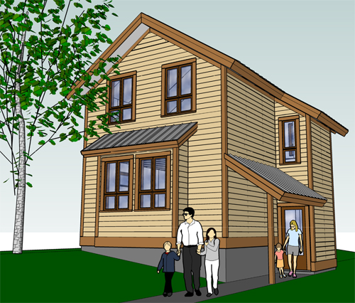 This what one of the single-family homes could look like. Illustration courtesy of the Revelstoke Housing Society