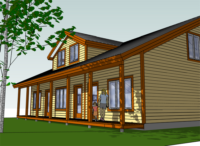 Another view of the proposed triplex. Illustration courtesy of the Revelstoke Housing Society