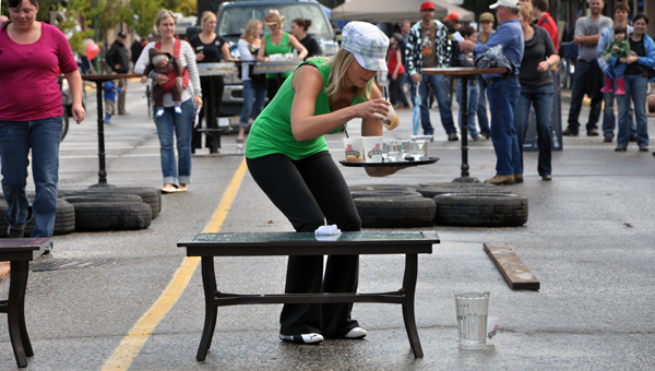 Don't drop anything! A novel new race began during the New Moon Over Mackenzie festival: a Waiter/Waitress Relay that tested the balance, coordination and skill of teams from different restaurants and bars. The waitresses from Zala's won the day. Photo courtesy of Sonia Cinelli