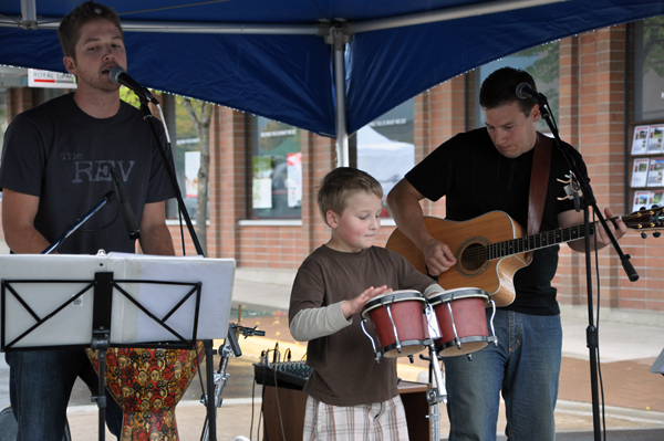 The Rev's Alan Laidlaw and Brandon Haney had a little help from a young drummer Saturday. Photo courtesy of Sonia Cinelli