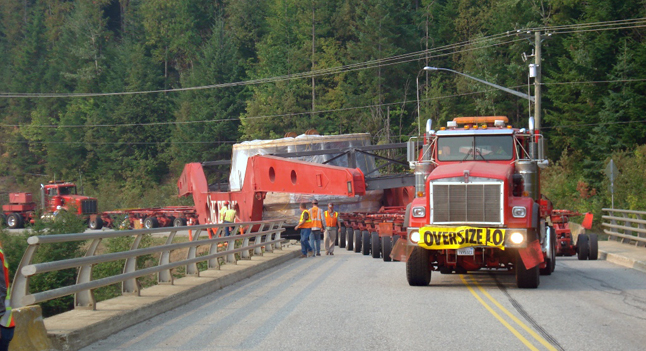 Here's another view of the turbine and its 128-wheel transport crossing the Jordan River. Dusty Veideman photo courtesy of BC Hydro