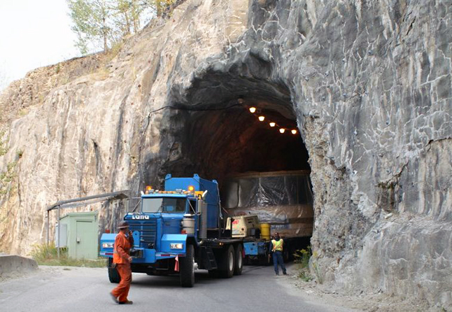The truck carrying the turbine emerges from the tunnel. Dusty Veideman photo courtesy of BC Hydro