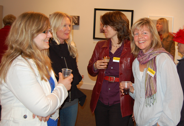 Cherie Van Overbeke, Rachel Thompson, Gwen Lips and Tina Lindegaard talk about their art during the show. All four women are accomplished artists, although Thompson did not exhibit in this show. David F. Rooney photo