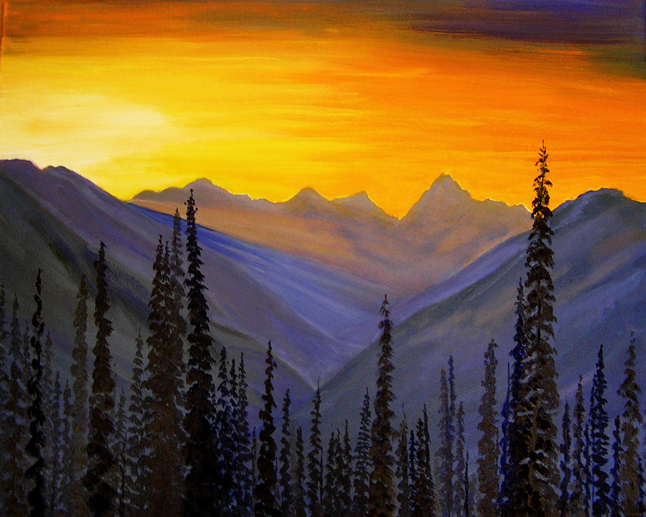 The mountain sunset in Cecilia Lea's oil painting glows with light. Image courtesy of the Revelstoke Visual Arts Centre