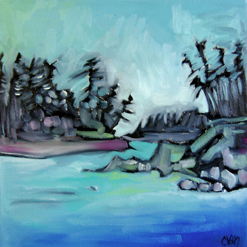 """Cherie Van Overbeke says she was """"captivated by the view of the ocean from one of our hikes. The fog was just off in the distance and the trees against it looked amazing. I have tried to capture that in this piece."""" Image courtesy of the Revelstoke Visual Arts Centre"""