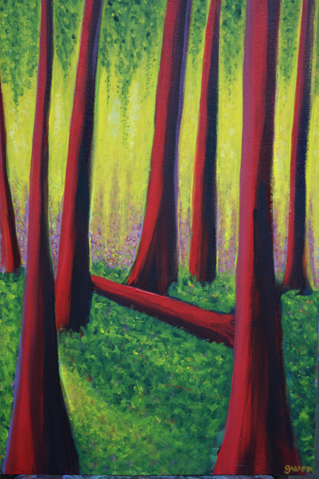 Gwen Lips' paintings in the show explore the trees that make our forests. mage courtesy of the Revelstoke Visual Arts Centre