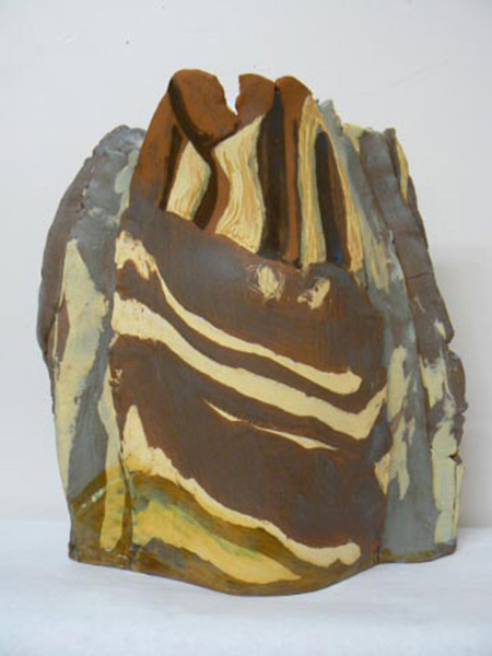 "A potter and experienced artist in several media, Sandra Flood saw the trip as a chane to produce ""work (that) begins to explore some of the things I saw. I experiment with the physical and tensile properties of clay and manipulate glazes to produce not imitation rocks but the feelings and visual references that they evoked."" Image courtesy of the Revelstoke Visual Arts Centre"