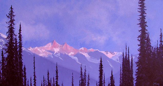 An accomplished landscape artist, Sue Davies' work for this exhibition is near-photographic in its execution and employs rich colours and tones. Image courtesy of the Revelstoke Visual Arts Centre