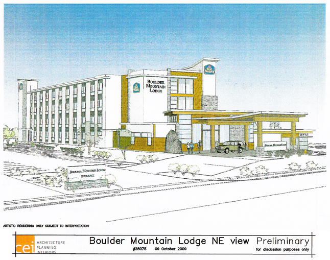 This is an artist's conception of what the planned Boulder Mountain Lodge will look like when it completed. The 4.5-storey Best Western lodge is planned for development at Pearkes and Laforme. Image courtesy of the City of Revelstoke