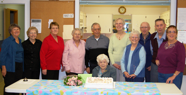 Ebba Stock (seated at center) turns 101 on Sunday — a real milestone in anyone's life — and the Senior Citizens' Association celebrated it in style this week with a special cake and tea party for her, and all the other seniors who celebrated birthdays. Ebba's family will be here for a private birthday party this weekend at her home. The centenarian still lives on her own. Form left to right behind her are the other birthday celebrants: Marg Kepler, Joanna McGregor, Gladys Dyer, Joan nelson, Peter Ozero, Charlene Robertson, Fred Schraeder, Harold Grimes, Helen Schraeder and Karen Pulver. David F. Rooney photo
