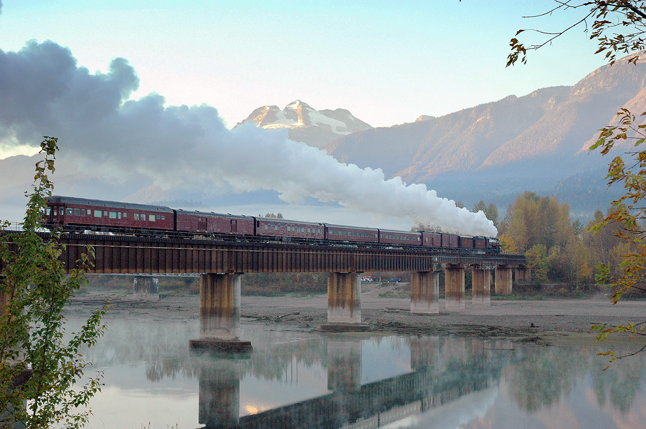 This photo, entitled Steam Train Crossing the Columbia River at Revelstoke, by local resident George Hopkins is one of the 10 finalists in a Columbia Basin-wide photo contest. Photo courtesy of George Hopkins