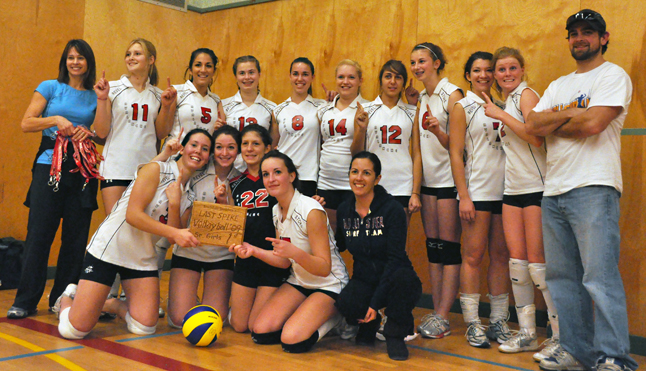 The RSS Senior Girls Avalanche team poses with coaches Kathy Hoshizaki (left) and Lori Borges (center right kneeling in the dark track suit) after winning the Last Spike Volleyball Tournament on Saturday. Photo courtesy of Jim Bay