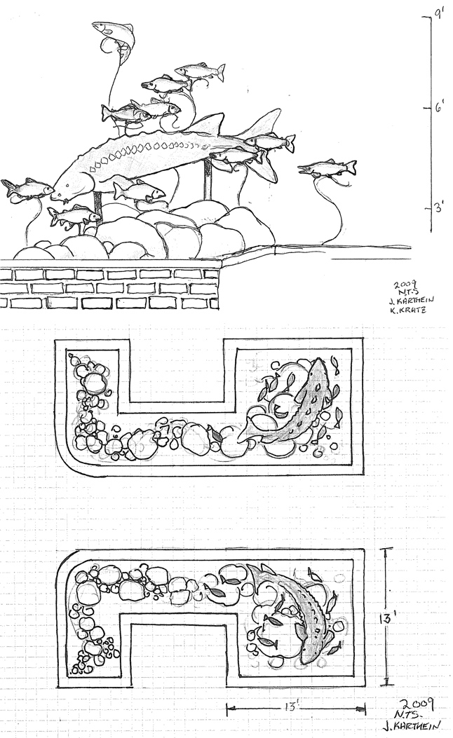 This is the artist's design for the new public sculptures that are to be erected at the western end of Grizzly Plaza, at Third Street and Mackenzie Avenue. Council approved the recommendation by the Public Art Committee after an in camera meeting two weeks ago. The twin sculptures depict sturgeon and kokanee — both fish species found in the Columbia River.The sculptures will be executed by artists James Karthein of Crestova and Kevin Kratz of Crescent Valley.  Artists' images courtesy of the City of Revelstoke Public Art Committee