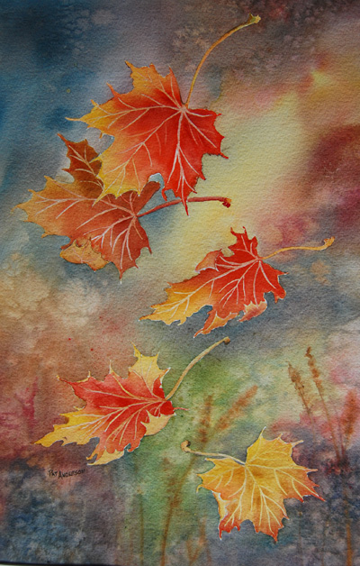 Pat Anderson's mastery of water colour techniques is very apparent in The Maple Leaf Forever. Her falling autumn leaves are exquisitely renders and so graceful they appear to have been frozen in time and space. Image courtesy of Pat Anderson
