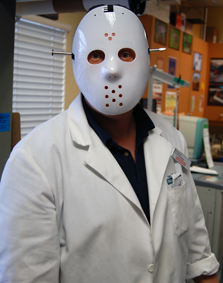 Andrew Moore at Pharmasave had just what it takes to be a serial killer. David F. Rooney photo