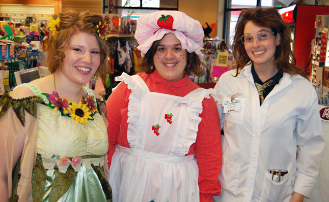 And at the front counter Krstin Larson, Kaylin Sutherland and Avril Bergess were dressed to charm their customers. David F. Rooney photo