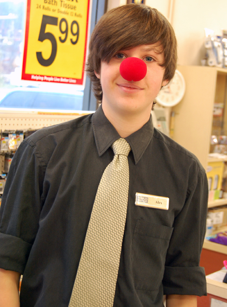 At People's Drug Mart Alex Tompkins kept it simple with a red clown nose. David F. Rooney photo