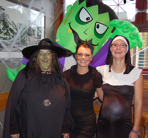 The staff at the Regent Pub are always game for Halloween as the witchy Tracy Kessler joined Cat Girl Julie Hancock and that not-so-innocent nun Kirby Edwards. David F. Rooney photo