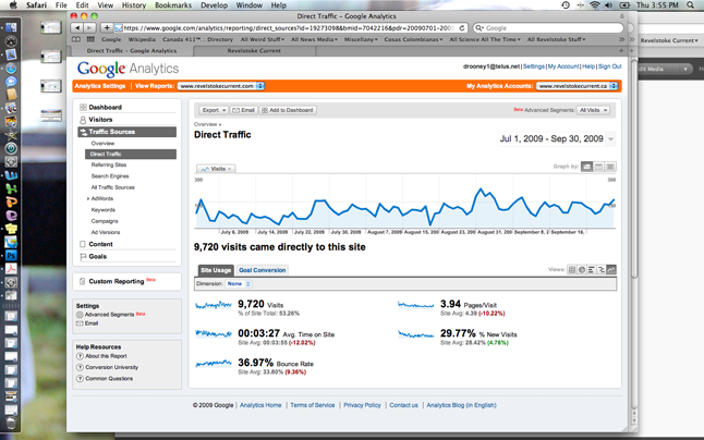 Direct traffic to The Current has been building steadily since July 1. David F. Rooney screen shot
