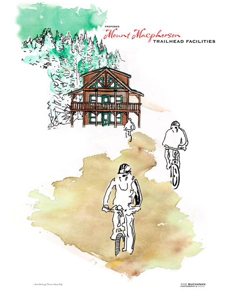 In summer, the day lodge would service the mountain bikers who prize Mount MacPherson's network of world-class trails. Rob Buchanan rendering courtesy of the Revelstoke Nordic Ski Club