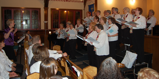 Charlene Robertson leads the Selkirk Singers (formerly known as the Seniors' Choir) through the first of four songs. The first three were lovely. But the last...