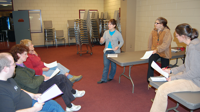 Not everyone was outdoors, of course, some were attending Anitas Halewas' theatre directing course at the Community Centre. David F. Rooney photo
