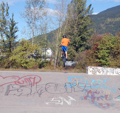 "For three boys, the then-empty skateboard park was perfect for trying out some of their moves. Here, having just whizzed past, Lars Nielsen does a ""gap."" David F. Rooney photo"