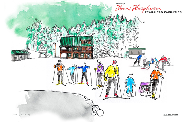 This artist's rendering gives you an idea of what the proposed day lodge at Mount MacPherson could look like. Rob Buchanan rendering courtesy of the Revelstoke Nordic Ski Club