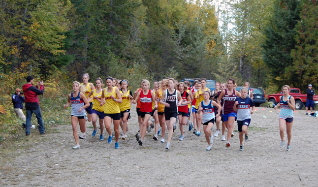 And they're off! Girls from RSS and school sin Salmon Arm, Vernon and Pleasant Valley start pounding the 4.5-kilometre course through the Mount MacPherson ski area on Wednesday. David F. Rooney photo